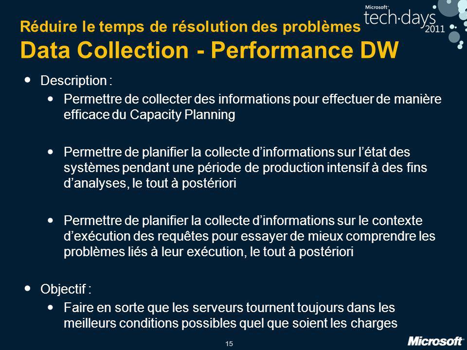 15 Réduire le temps de résolution des problèmes Data Collection - Performance DW Description : Permettre de collecter des informations pour effectuer