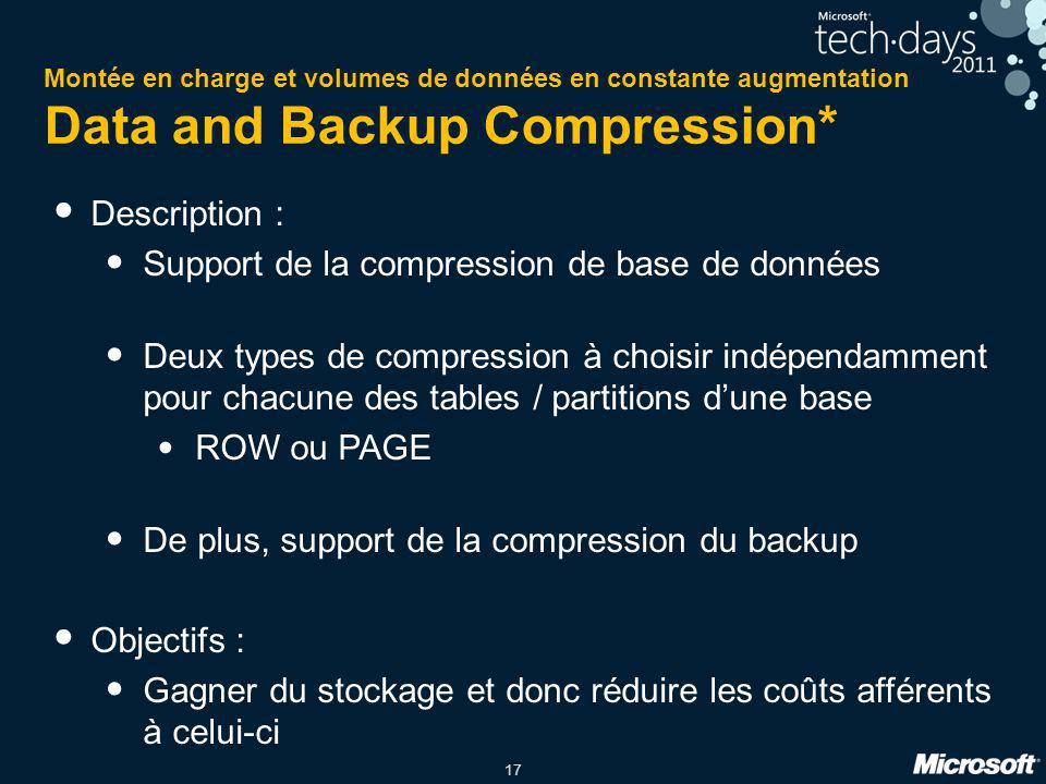 17 Montée en charge et volumes de données en constante augmentation Data and Backup Compression* Description : Support de la compression de base de do