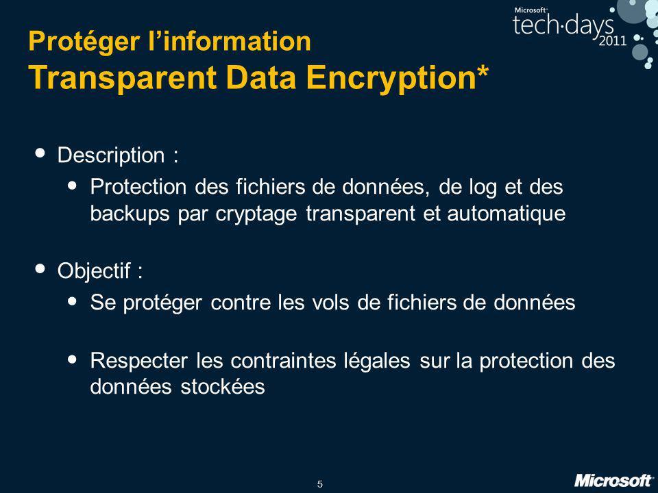 5 Protéger l'information Transparent Data Encryption* Description : Protection des fichiers de données, de log et des backups par cryptage transparent
