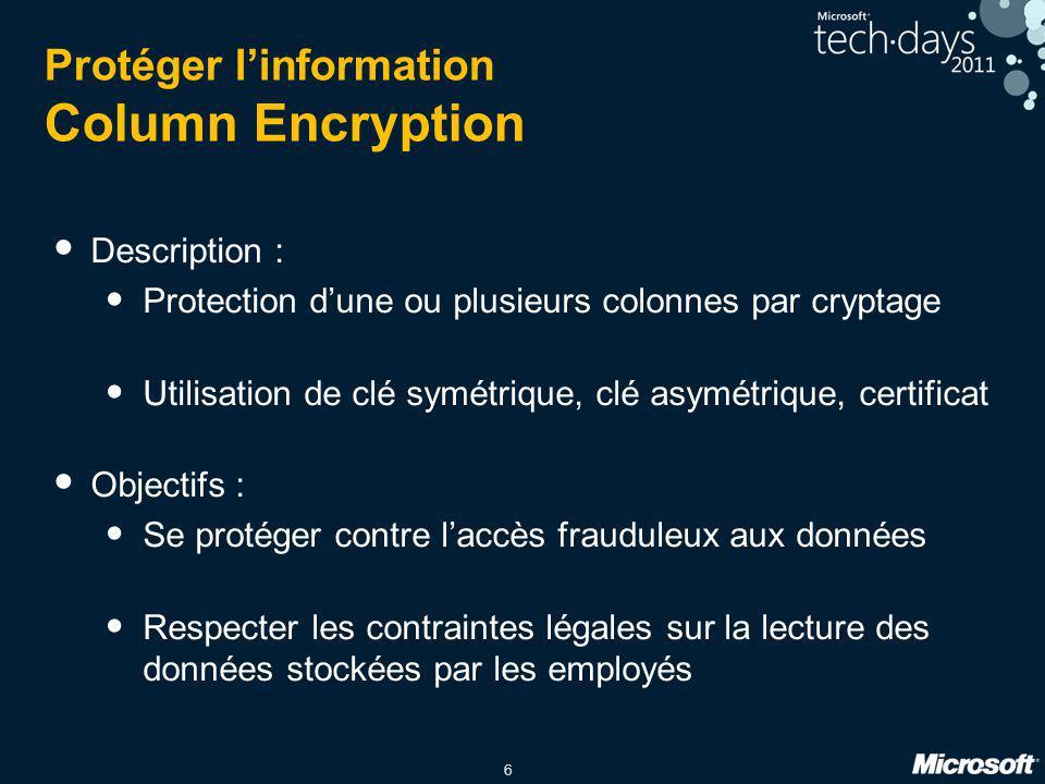 6 Protéger l'information Column Encryption Description : Protection d'une ou plusieurs colonnes par cryptage Utilisation de clé symétrique, clé asymét