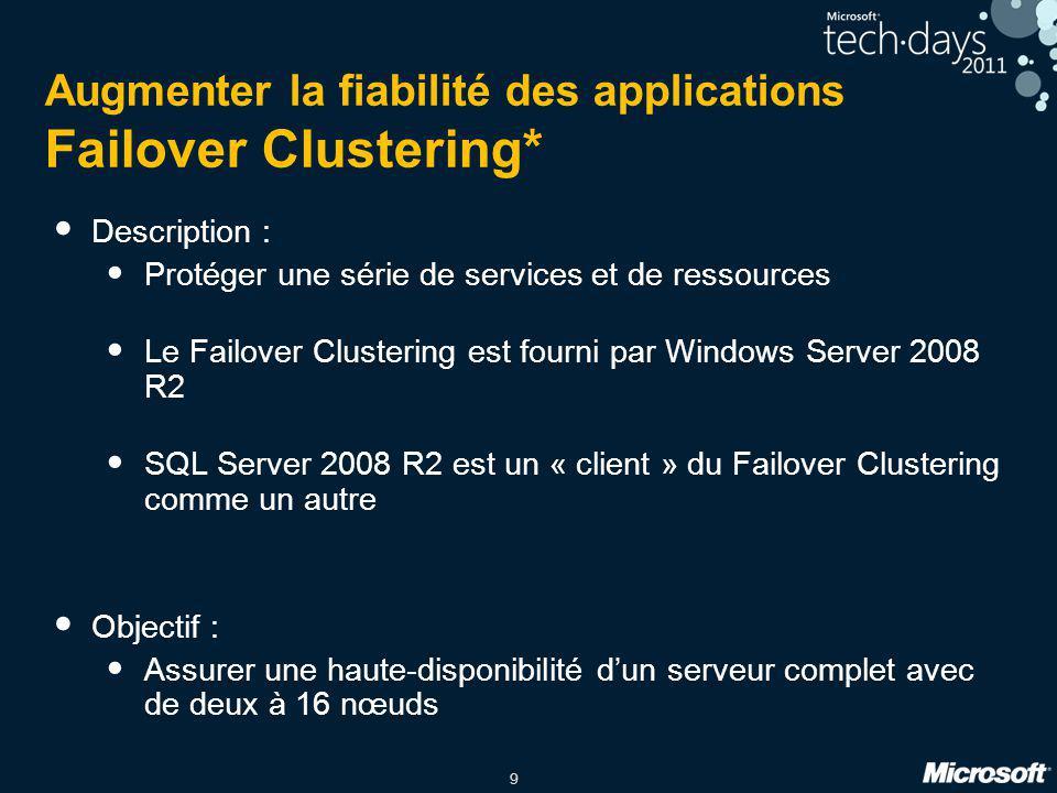 9 Augmenter la fiabilité des applications Failover Clustering* Description : Protéger une série de services et de ressources Le Failover Clustering es