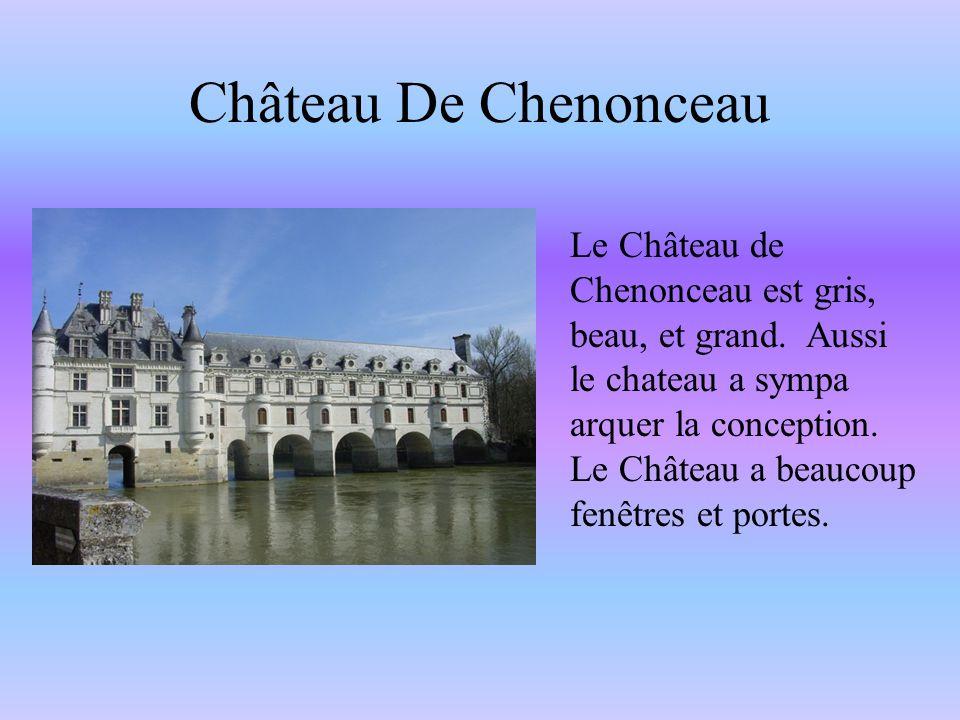 Le Château de Chenonceau est gris, beau, et grand. Aussi le chateau a sympa arquer la conception. Le Château a beaucoup fenêtres et portes. Château De