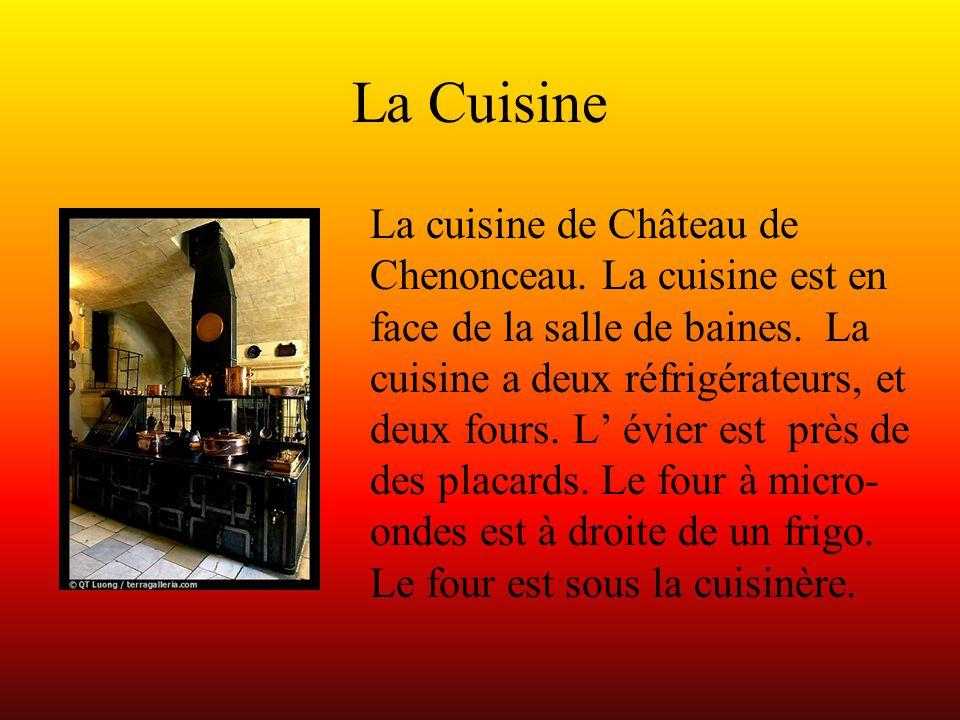 La Cuisine La cuisine de Château de Chenonceau. La cuisine est en face de la salle de baines. La cuisine a deux réfrigérateurs, et deux fours. L' évie