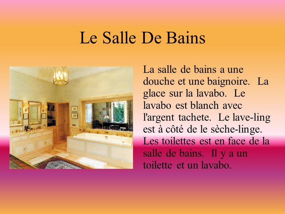 Le Salle De Bains La salle de bains a une douche et une baignoire. La glace sur la lavabo. Le lavabo est blanch avec l'argent tachete. Le lave-ling es