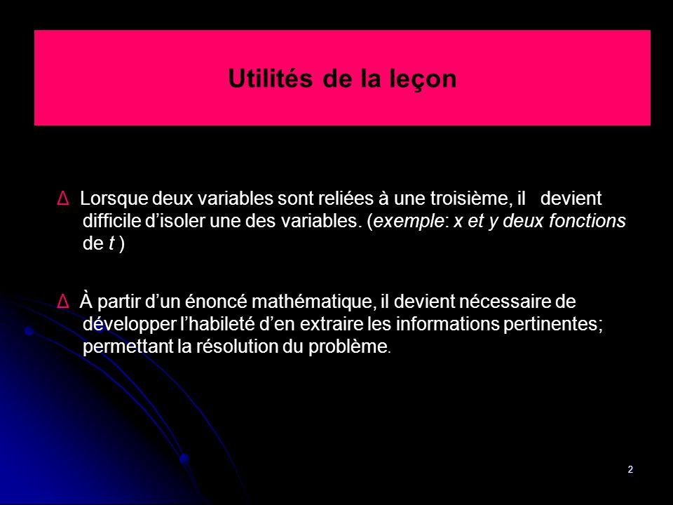 2 Utilités de la leçon Δ Lorsque deux variables sont reliées à une troisième, il devient difficile d'isoler une des variables. (exemple: x et y deux f