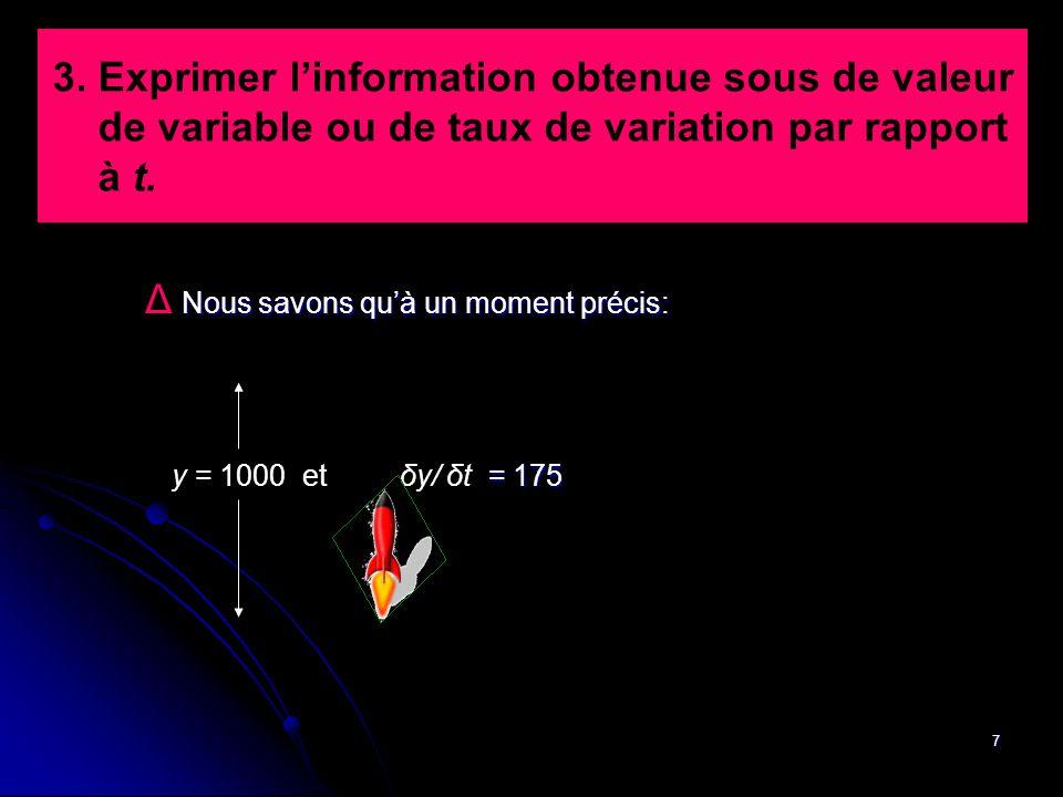 7 3. Exprimer l'information obtenue sous de valeur de variable ou de taux de variation par rapport à t. Nous savons qu'à un moment précis: Δ Nous savo