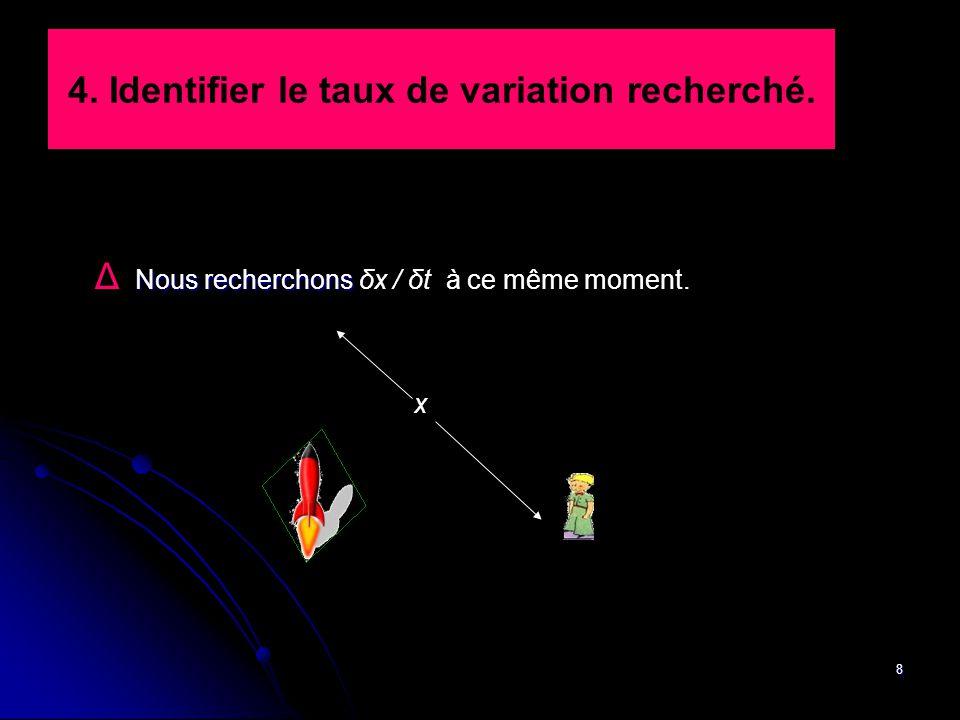 8 4. Identifier le taux de variation recherché. Nous recherchons Δ Nous recherchons δx / δt à ce même moment. x