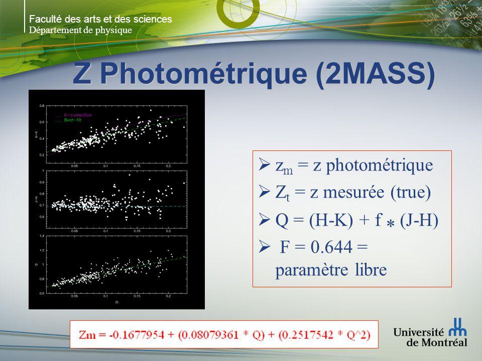Faculté des arts et des sciences Département de physique Z Photométrique (2MASS)  z m = z photométrique  Z t = z mesurée (true)  Q = (H-K) + f * (J-H)  F = 0.644 = paramètre libre