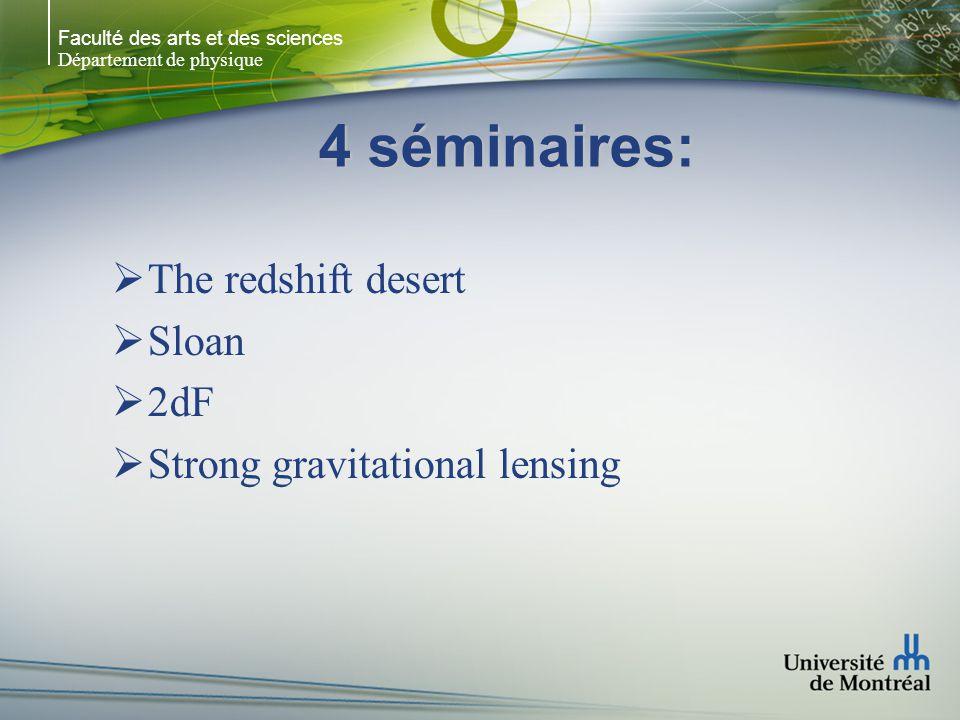 Faculté des arts et des sciences Département de physique 4 séminaires:  The redshift desert  Sloan  2dF  Strong gravitational lensing