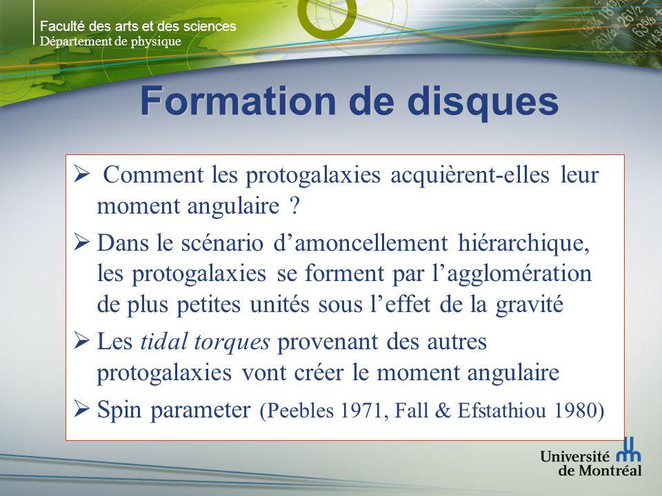 Faculté des arts et des sciences Département de physique Formation de disques  Comment les protogalaxies acquièrent-elles leur moment angulaire .