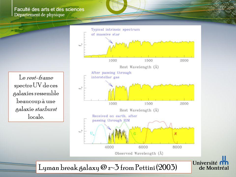 Faculté des arts et des sciences Département de physique Lyman-break (UV drop-out)  UV loitain, flux dominé par les étoiles massives  Red, green, UV conçus pour trouver les galaxies à grands z  Pas de flux en UV