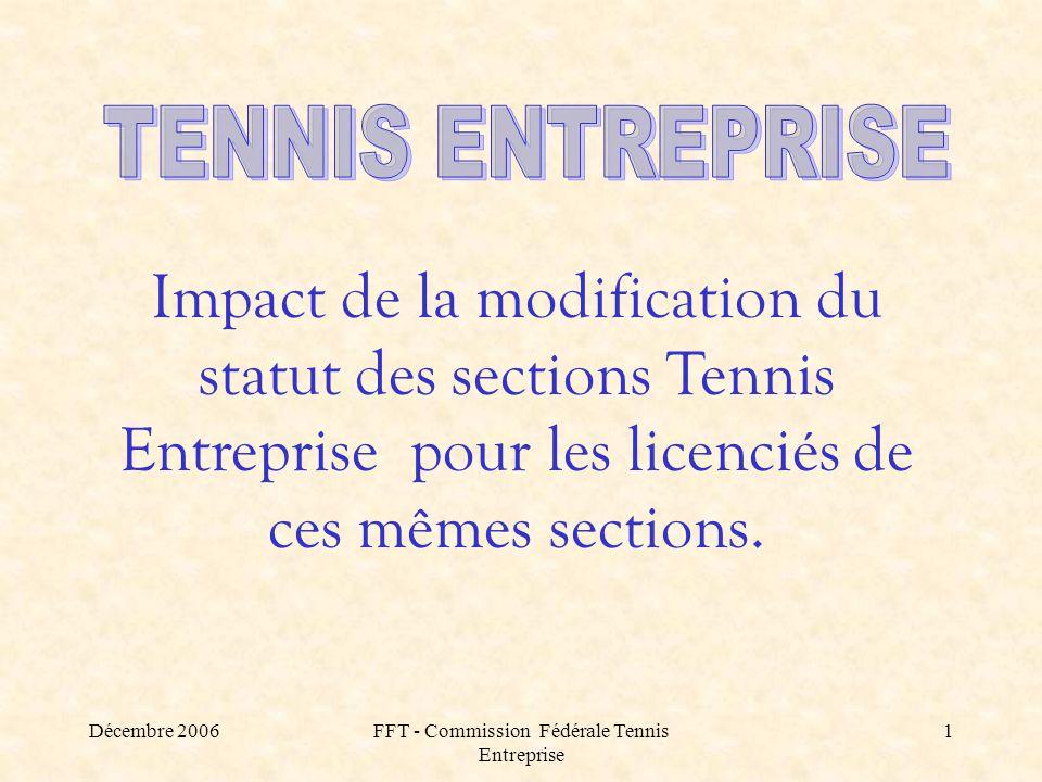Décembre 2006FFT - Commission Fédérale Tennis Entreprise 1 Impact de la modification du statut des sections Tennis Entreprise pour les licenciés de ces mêmes sections.