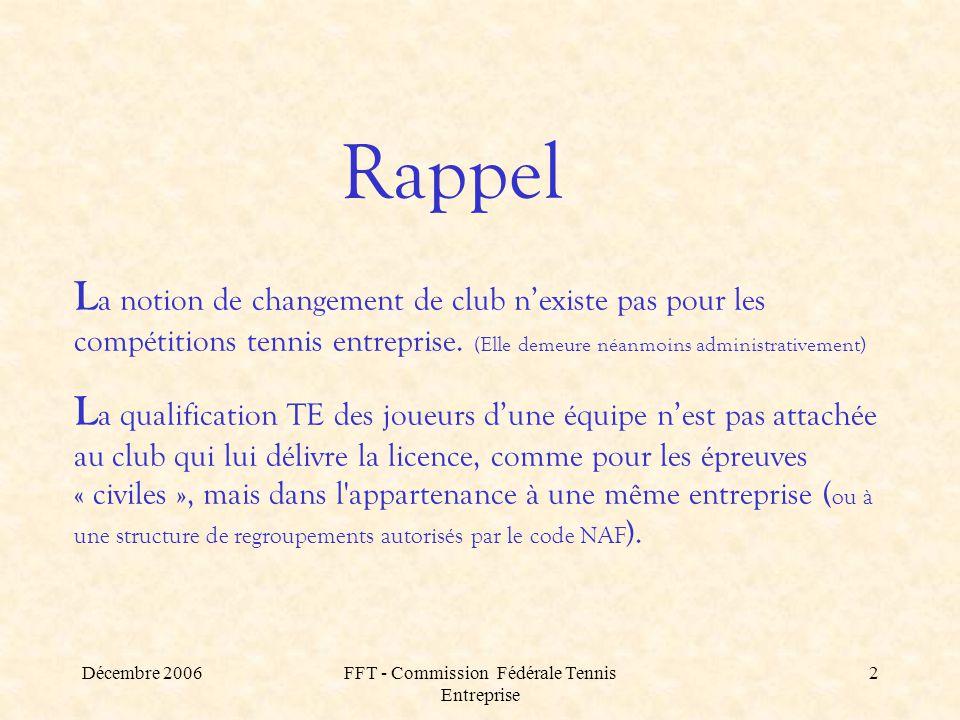 Décembre 2006FFT - Commission Fédérale Tennis Entreprise 2 Rappel L a notion de changement de club n'existe pas pour les compétitions tennis entreprise.