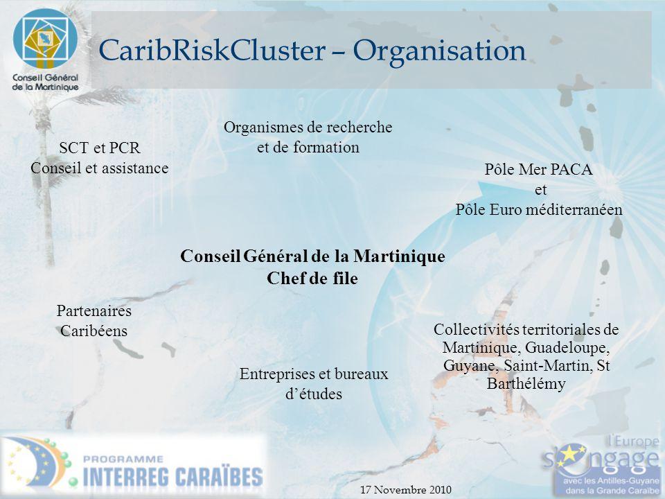17 Novembre 2010 CaribRiskCluster – Organisation Conseil Général de la Martinique Chef de file SCT et PCR Conseil et assistance Partenaires Caribéens