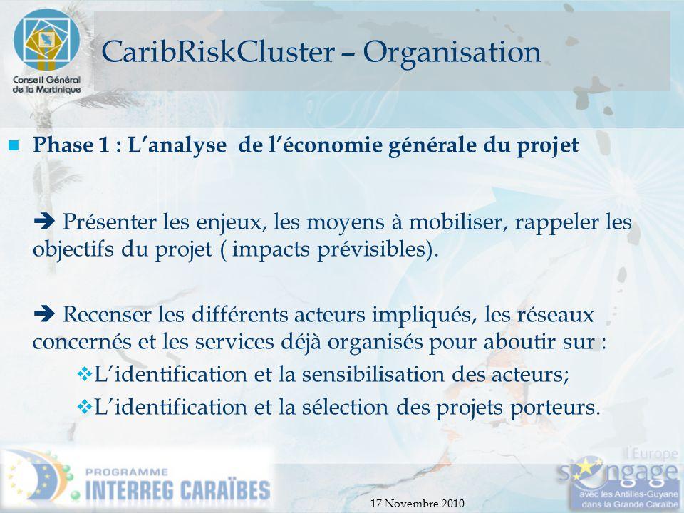 17 Novembre 2010 CaribRiskCluster – Organisation Phase 1 : L'analyse de l'économie générale du projet  Présenter les enjeux, les moyens à mobiliser,