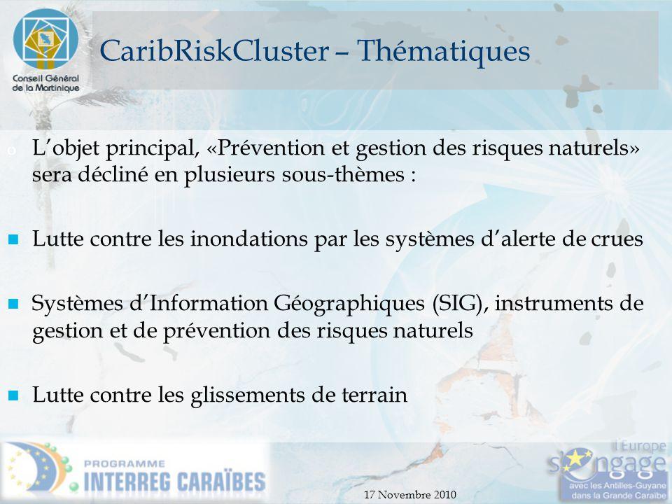 17 Novembre 2010 CaribRiskCluster – Thématiques o L'objet principal, «Prévention et gestion des risques naturels» sera décliné en plusieurs sous-thème