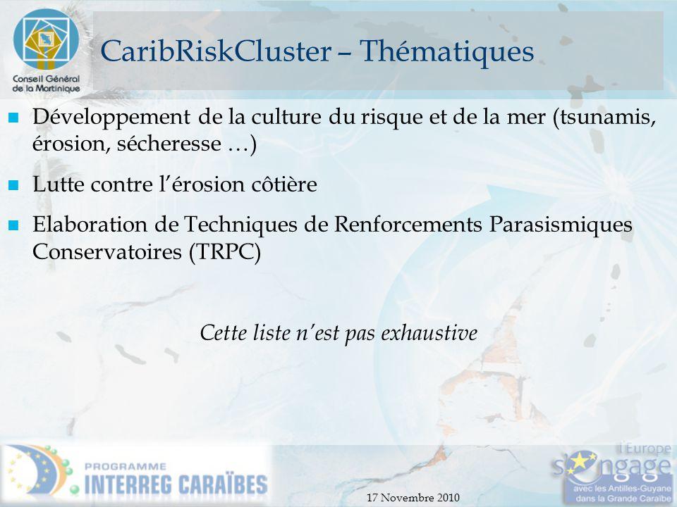 17 Novembre 2010 CaribRiskCluster – Thématiques Développement de la culture du risque et de la mer (tsunamis, érosion, sécheresse …) Lutte contre l'ér