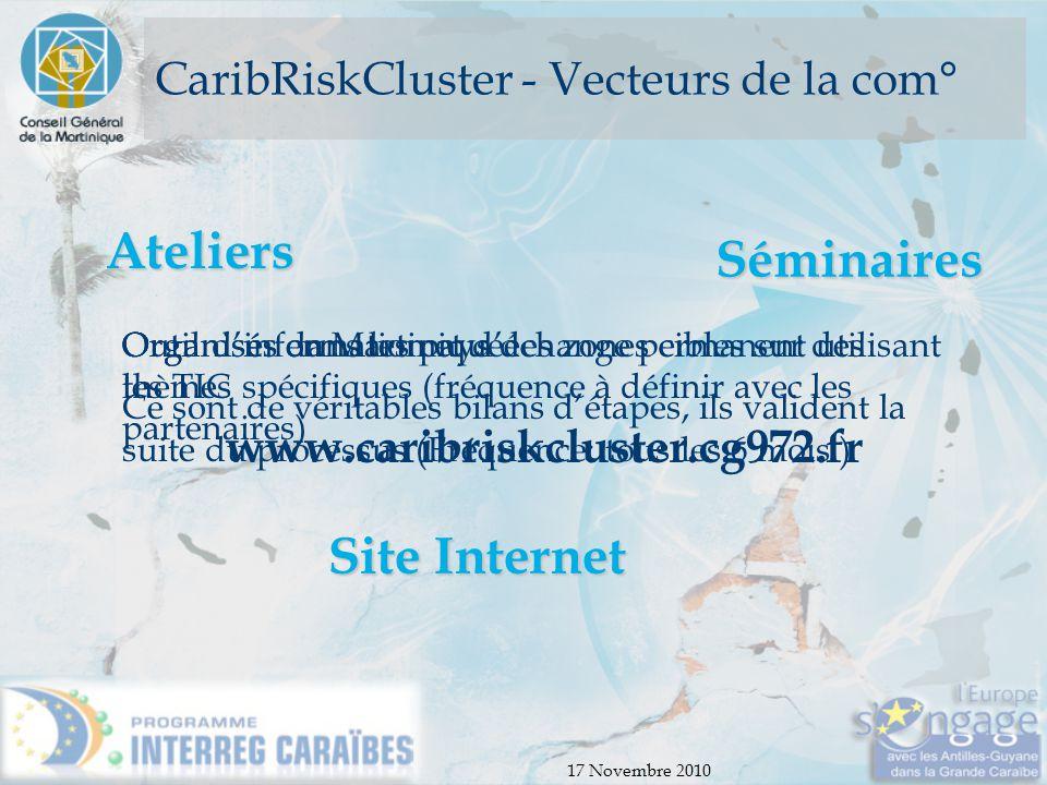 17 Novembre 2010 CaribRiskCluster - Vecteurs de la com° Site Internet Séminaires Ateliers Organisés dans les pays des zones cibles sur des thèmes spéc