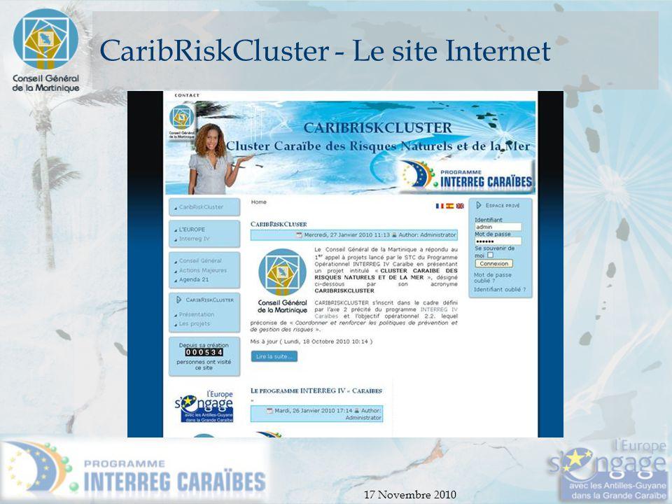 17 Novembre 2010 CaribRiskCluster - Le site Internet