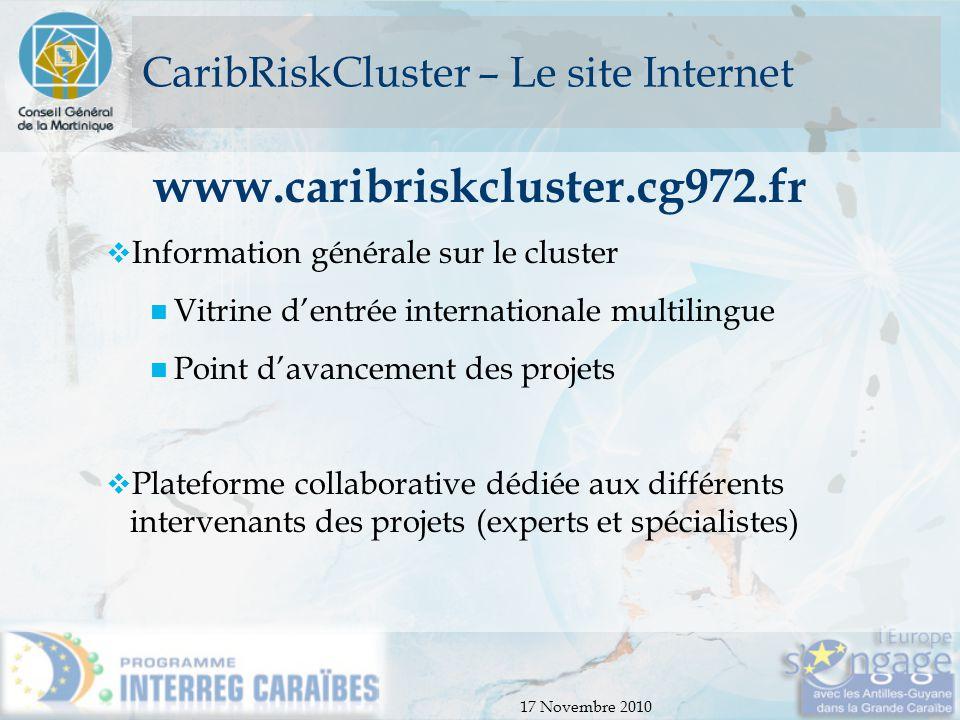 17 Novembre 2010 CaribRiskCluster – Le site Internet www.caribriskcluster.cg972.fr  Information générale sur le cluster Vitrine d'entrée internationa