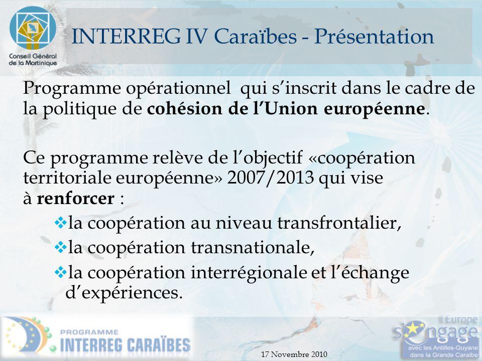 17 Novembre 2010 INTERREG IV Caraïbes - Budget Budget Le budget Interreg s'élève à globalement 63 M€ répartis comme suit :  75% FEDER  25% Région Martinique, Guadeloupe, Guyane, COM (Saint-Martin, St Barthélémy), Etat 75 % 25%