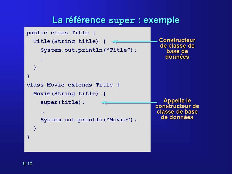 """9-10 La référence super : exemple public class Title { Title(String title) { System.out.println(""""Title""""); … } class Movie extends Title { Movie(String"""