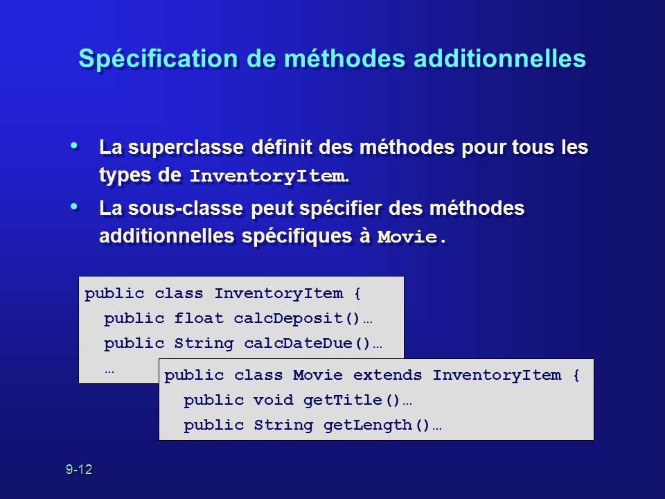 9-12 Spécification de méthodes additionnelles La superclasse définit des méthodes pour tous les types de InventoryItem. La sous-classe peut spécifier
