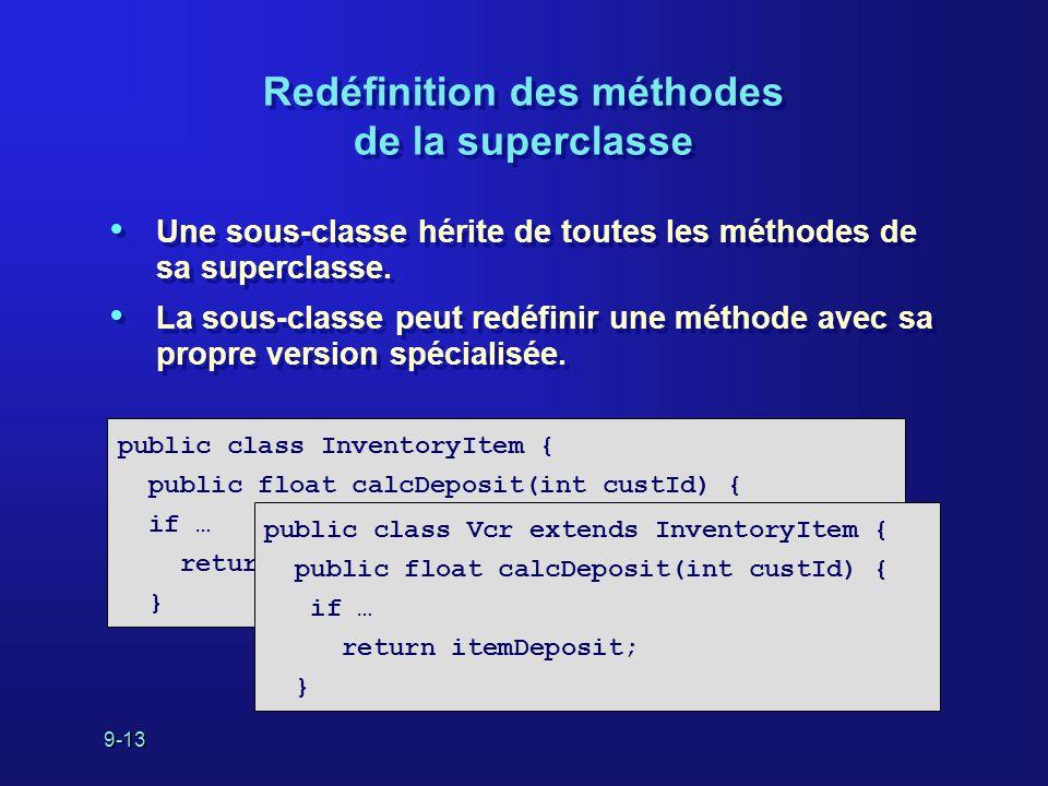 9-13 Redéfinition des méthodes de la superclasse Une sous-classe hérite de toutes les méthodes de sa superclasse. La sous-classe peut redéfinir une mé