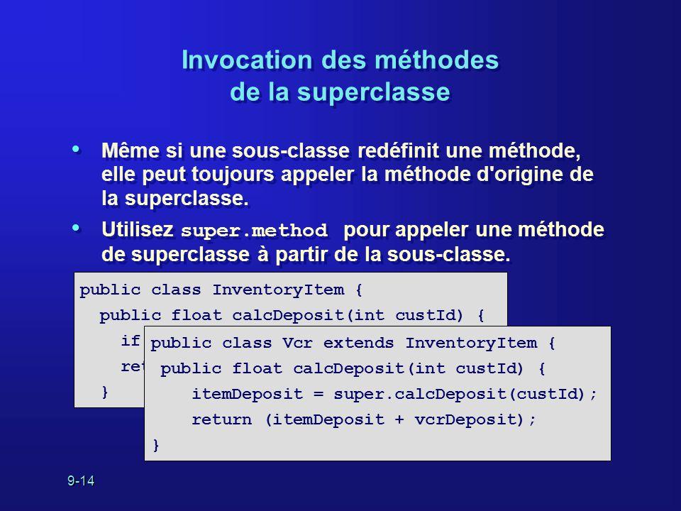 9-14 Invocation des méthodes de la superclasse Même si une sous-classe redéfinit une méthode, elle peut toujours appeler la méthode d'origine de la su