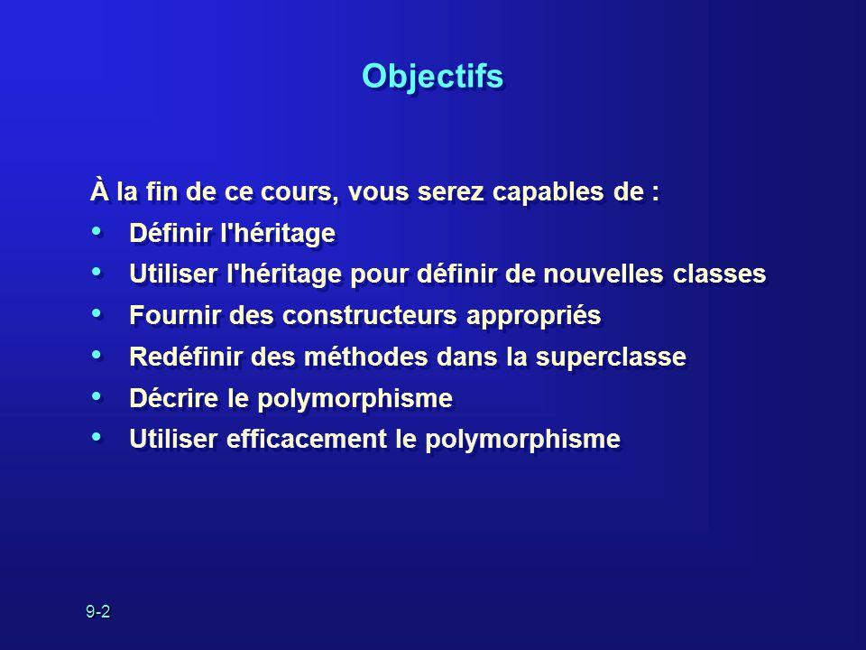 9-2 Objectifs À la fin de ce cours, vous serez capables de : Définir l'héritage Utiliser l'héritage pour définir de nouvelles classes Fournir des cons