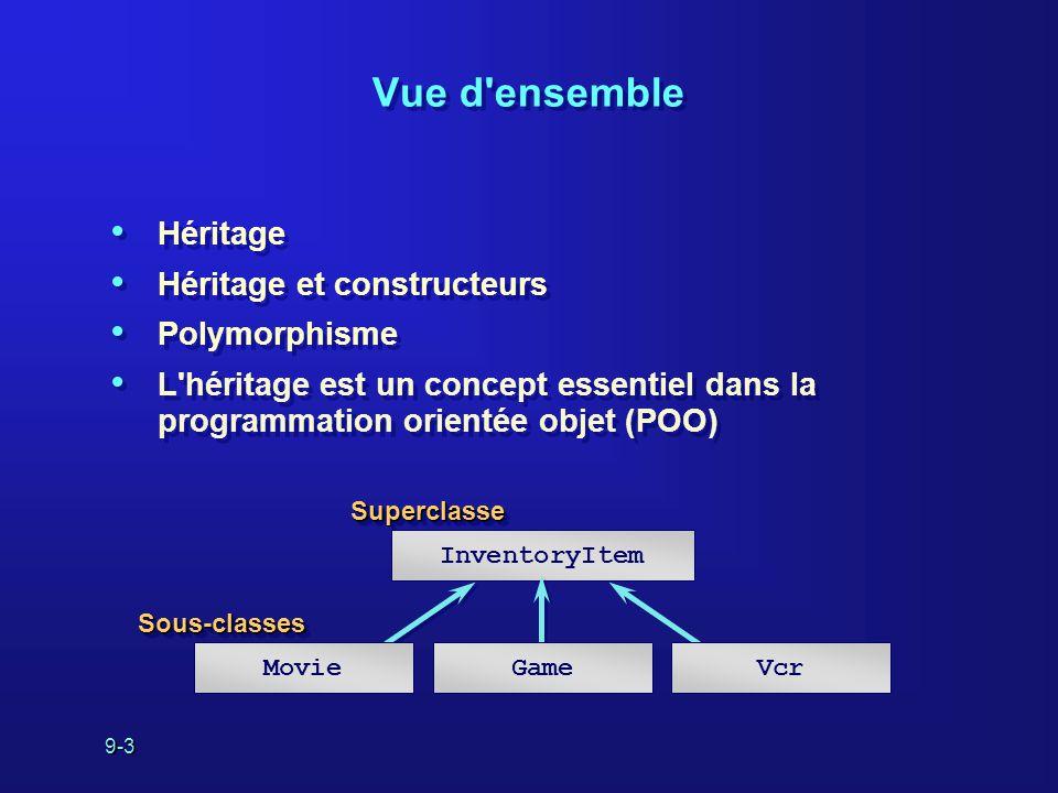 9-3 Vue d'ensemble Héritage Héritage et constructeurs Polymorphisme L'héritage est un concept essentiel dans la programmation orientée objet (POO) Hér