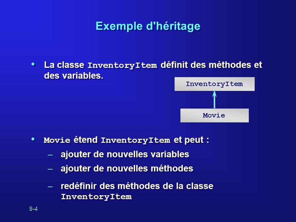 9-4 Exemple d'héritage La classe InventoryItem définit des méthodes et des variables. Movie étend InventoryItem et peut : –ajouter de nouvelles variab