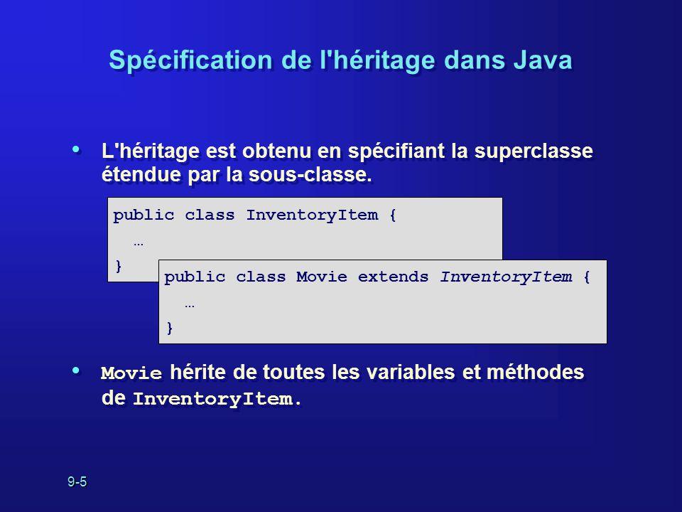9-5 Spécification de l'héritage dans Java L'héritage est obtenu en spécifiant la superclasse étendue par la sous-classe. Movie hérite de toutes les va