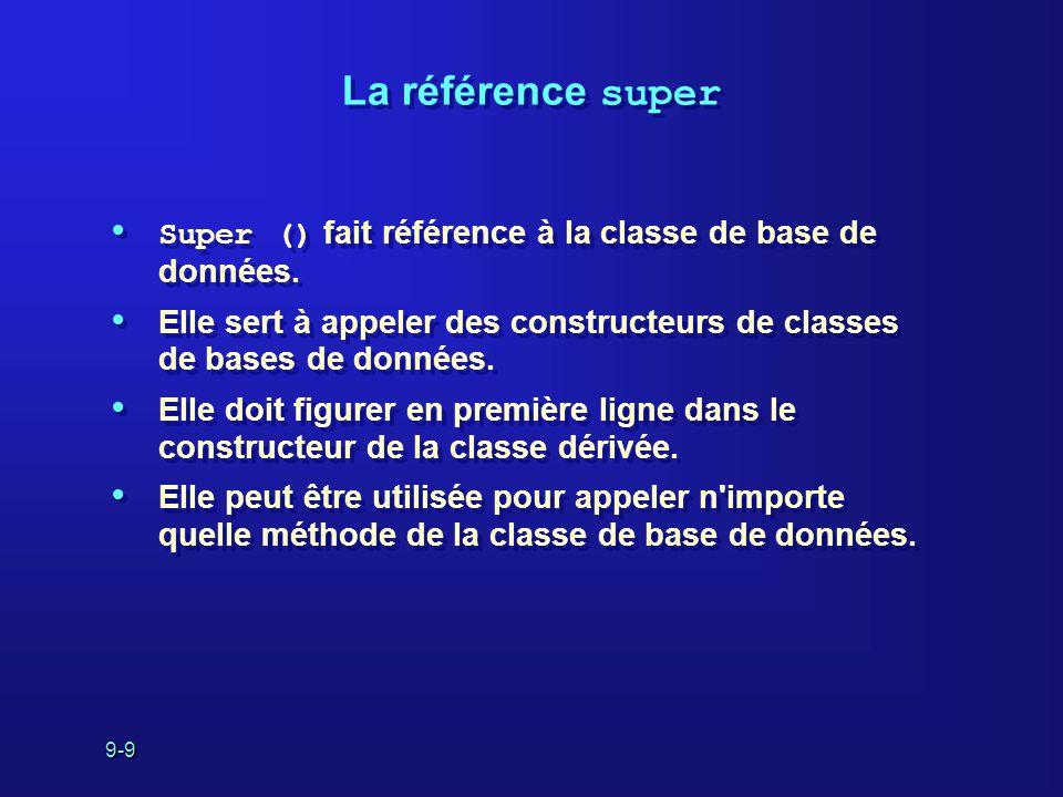 9-9 La référence super Super () fait référence à la classe de base de données. Elle sert à appeler des constructeurs de classes de bases de données. E