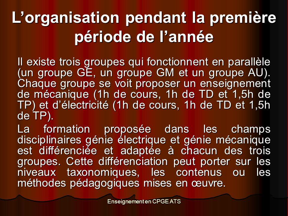 Enseignement en CPGE ATS L'organisation pendant la première période de l'année Il existe trois groupes qui fonctionnent en parallèle (un groupe GE, un
