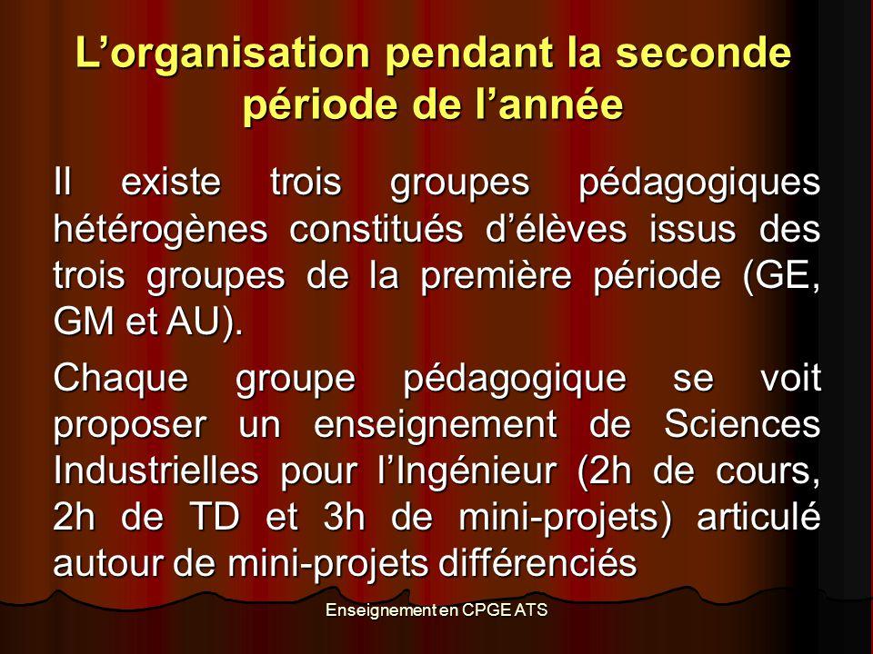 Enseignement en CPGE ATS L'organisation pendant la seconde période de l'année Il existe trois groupes pédagogiques hétérogènes constitués d'élèves iss