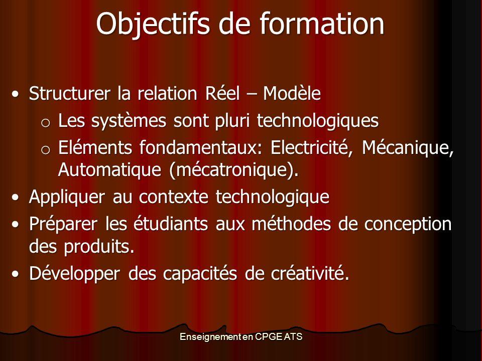 Enseignement en CPGE ATS Objectifs de formation Structurer la relation Réel – ModèleStructurer la relation Réel – Modèle o Les systèmes sont pluri tec