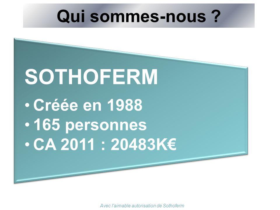 Qui sommes-nous ? SOTHOFERM Créée en 1988 165 personnes CA 2011 : 20483K€ Avec l'aimable autorisation de Sothoferm