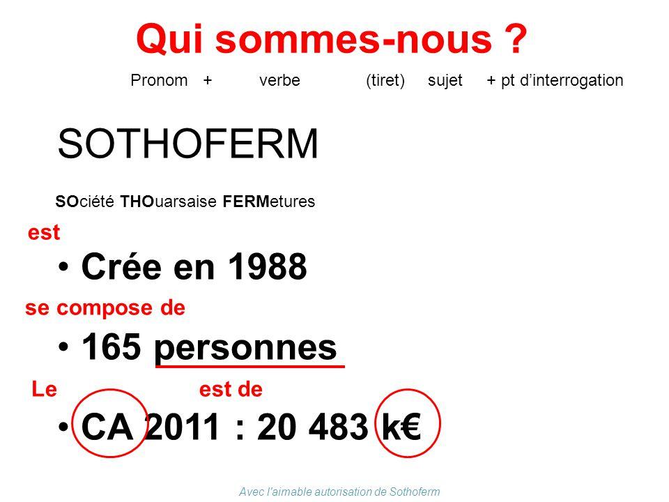 Qui sommes-nous ? SOTHOFERM Crée en 1988 165 personnes CA 2011 : 20 483 k€ Pronom + verbe (tiret) sujet + pt d'interrogation est se compose de Le est