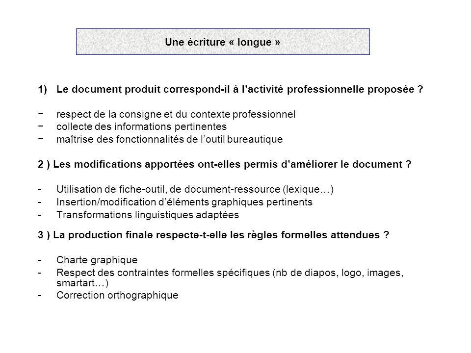 Une écriture « longue » 1)Le document produit correspond-il à l'activité professionnelle proposée ? −respect de la consigne et du contexte professionn