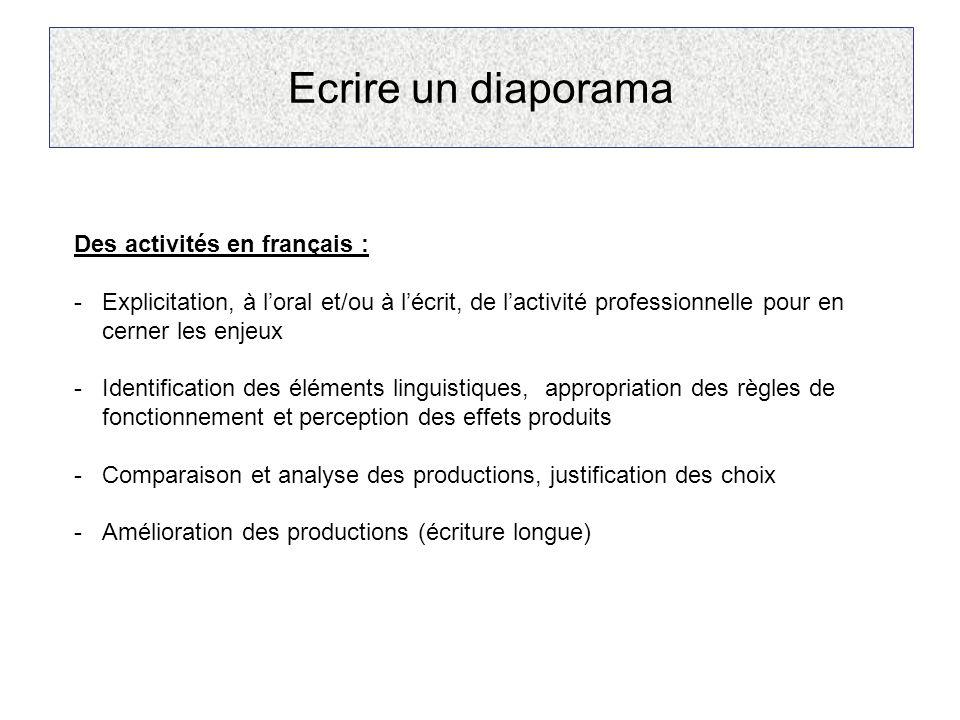 Ecrire un diaporama Des activités en français : -Explicitation, à l'oral et/ou à l'écrit, de l'activité professionnelle pour en cerner les enjeux -Ide