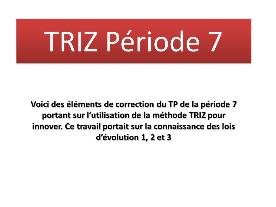 TRIZ Période 7 Voici des éléments de correction du TP de la période 7 portant sur l'utilisation de la méthode TRIZ pour innover. Ce travail portait su
