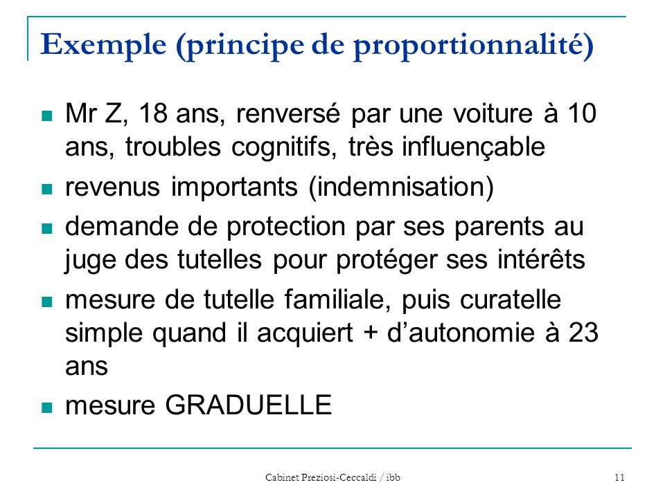 Cabinet Preziosi-Ceccaldi / ibb 11 Exemple (principe de proportionnalité) Mr Z, 18 ans, renversé par une voiture à 10 ans, troubles cognitifs, très in
