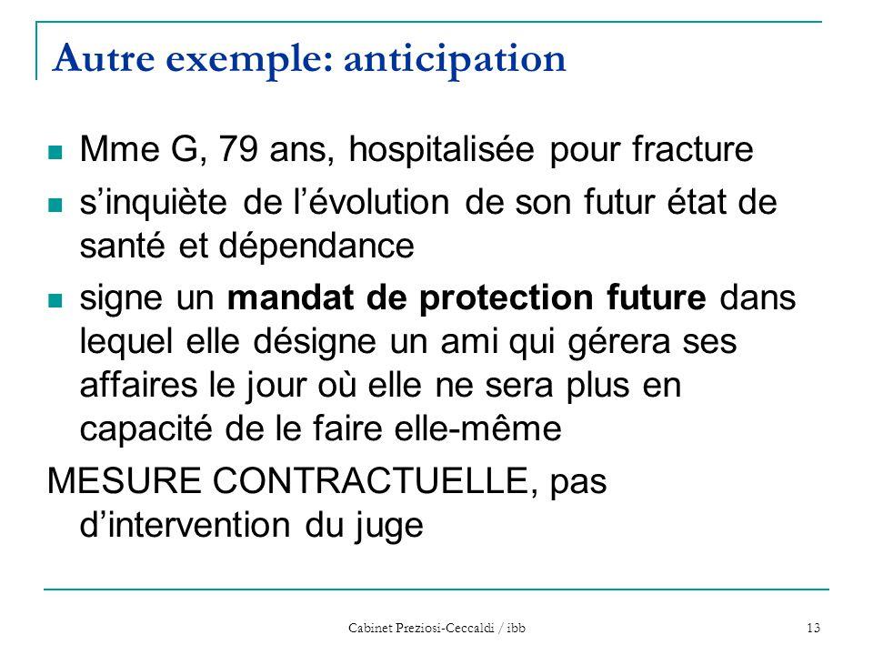 Cabinet Preziosi-Ceccaldi / ibb 13 Autre exemple: anticipation Mme G, 79 ans, hospitalisée pour fracture s'inquiète de l'évolution de son futur état d