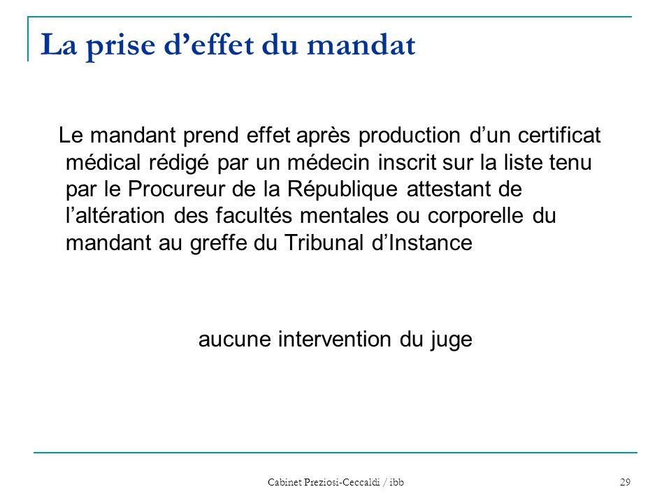 Cabinet Preziosi-Ceccaldi / ibb 29 La prise d'effet du mandat Le mandant prend effet après production d'un certificat médical rédigé par un médecin in