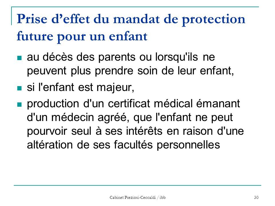 Cabinet Preziosi-Ceccaldi / ibb 30 Prise d'effet du mandat de protection future pour un enfant au décès des parents ou lorsqu'ils ne peuvent plus pren