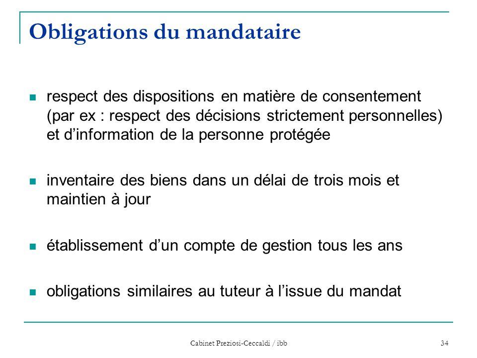 Cabinet Preziosi-Ceccaldi / ibb 34 Obligations du mandataire respect des dispositions en matière de consentement (par ex : respect des décisions stric