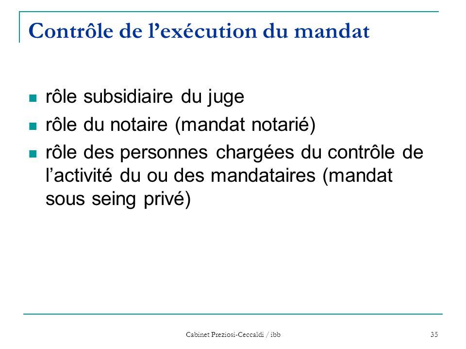 Cabinet Preziosi-Ceccaldi / ibb 35 Contrôle de l'exécution du mandat rôle subsidiaire du juge rôle du notaire (mandat notarié) rôle des personnes char