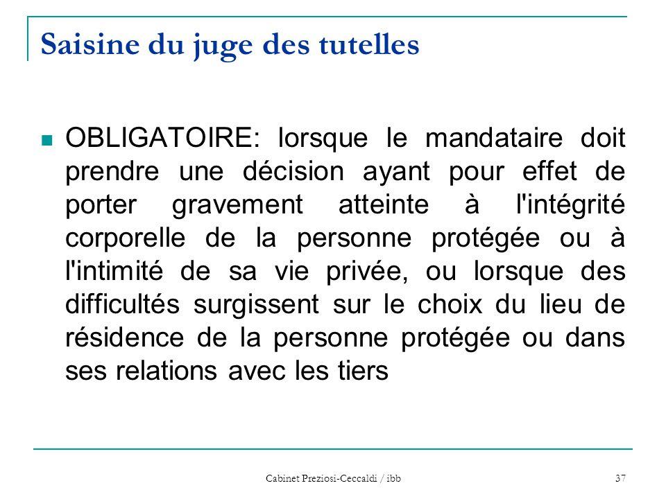 Cabinet Preziosi-Ceccaldi / ibb 37 Saisine du juge des tutelles OBLIGATOIRE: lorsque le mandataire doit prendre une décision ayant pour effet de porte