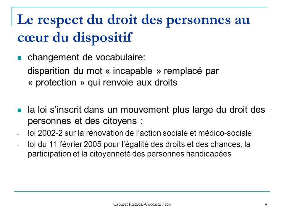Cabinet Preziosi-Ceccaldi / ibb 4 Le respect du droit des personnes au cœur du dispositif changement de vocabulaire: disparition du mot « incapable »